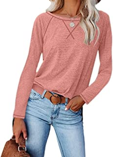 SELILALI Women's T Shirt Casual Crew Neck Long Sleeve Tops Ladies Loose Tee Shirts Basic Blouse Tops
