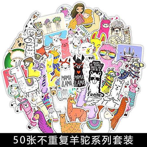 YCYY 50 Pegatinas de Grafiti de Alpaca en Maletas de portátiles y Pegatinas de Coche frigorífico