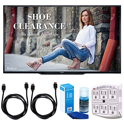 Sharp PN-LE901 90' Class 1920X1080 Commercial LCD HDTV Display w/Accessories Bundle Includes, 2X 6ft. HDMI Cable, SurgePro 6-Outlet Surge Adapter with Night Light & Screen Cleaner for LED TVs