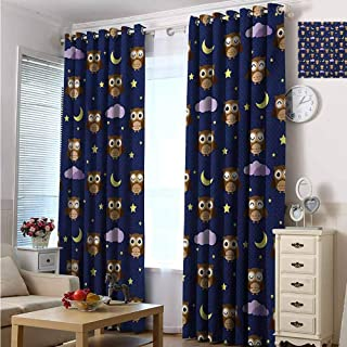 hengshu Nursery Room Darkened Insulation Grommet Curtain Cute Owls in an Starry Night and Moon Happy Sleepy and Alert Animals Living Room W72 x L108 Inch Night Blue Brown Yellow