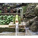 Fuente bambú Japón Jardín CascaFuente Agua al Aire Libre Caño, 100% Hecho a Mano Estanque Patio...