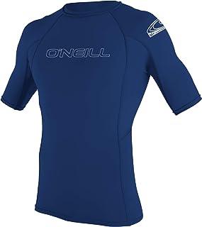 O'Neill Wetsuits Men's Basic Skins Short Sleeve Sun Shirt Rash Vest, Navy, L