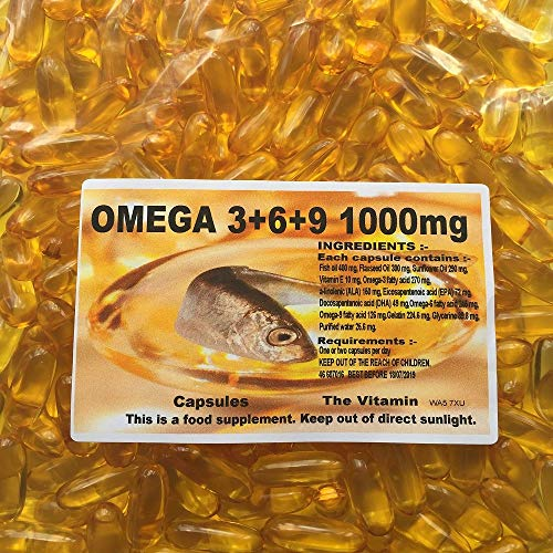 The Vitamin Omega 3 + 6 + 9 Flaxseed Oil 1000mg - 365 Capsules - Bagged