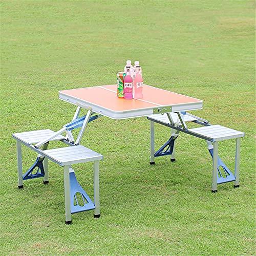 Campingtisch Klapptisch Picknicktisch Picknick-Koffer-Sitzgruppe Klapptisch-Gruppe Mit 4 Sitzen Alu, Sitzgarnitur Campingtisch Campingmöbel,Orange