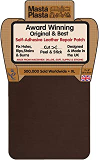 MastaPlasta Self-Adhesive Patch for Leather and Vinyl Repair, XL Plain, Medium Brown - 8 x 11 Inch