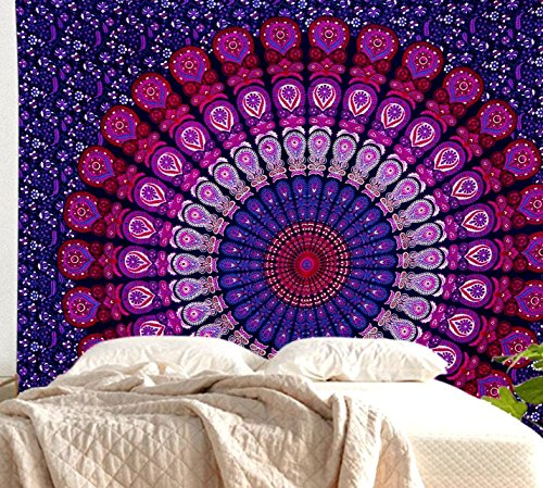Large Indian Hippie Bohemian Psychedelic Peacock Mandala Wall Hanging Floral Gold Bedding Tapestry Lavender Pink and Purple Peacock Mandala Tapestry Mandala Throw Bohemian Tapestry Mandala Bedspread