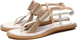 633d190d GAOLIXIA Sandalias de Cuero del Dedo del pie de Las Mujeres del Verano del  Dedo del
