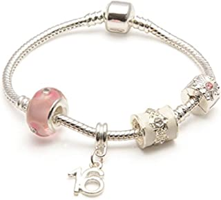 Liberty Charms Age 16 'Pink Parfait' Silver Plated Sparkle Charm/Bead Bracelet.