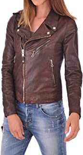 Leather Scan Women's Lambskin Leather Moto Bomber Biker Jacket