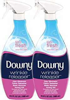 Downy Wrinkle Releaser Fabric Spray, Light Fresh Scent, 67.6 Total Oz (Pack of 2) - Odor Eliminator, Fabric Refresher, Sta...