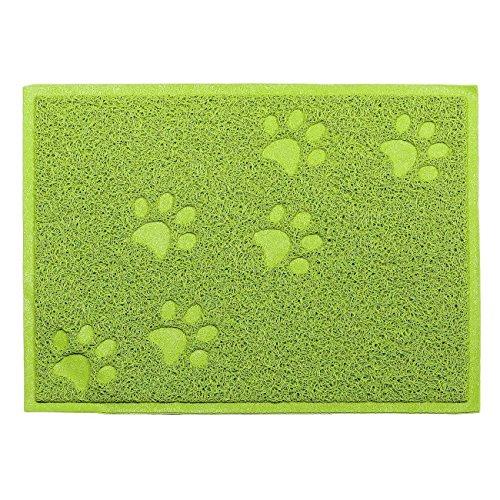 DINOWIN Haustier Fütterung Matte für Hunde und Katzen, PVC Pfote Haustier wasserdichte Matte rutschfeste Futternapf Matte (Grün)