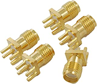 Yootop 20Pcs SMA Female Jack Connector End Launch Brass Straight SMA Female Jack Panel Mount PCB Clip Edge Mount Adapter