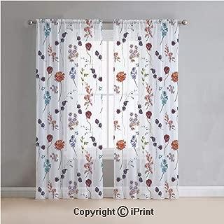 Flower Sheer Curtains Window Voile,Vintage Watercolor Blue Cushion Bulk Poppy Chrysanthemum Bellflower and BlackBerry Print,for Bedroom,Living Room,Kitchen,2 Panels Set,54x84Inches,Multi
