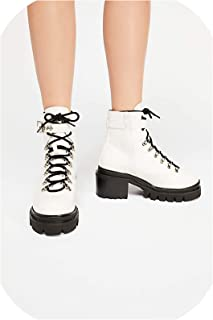 2019 Patent Leather Ankle Boots Women Platform Shoes Lace Up Chunky Motorcycle Boots,White,6