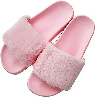 QPLUS Womens Faux Fur Flat Slide Sandals Fluffy Open Toe Slipper Soft Cozy Plush Indoor Slip on Shoes
