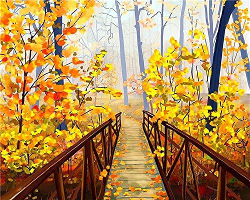 HYBWSO Kit de Peinture à l'huile Bricolage par numéro Pont de la Jungle d'automne Adultes Enfants Arts Maison Cadeau Décoration Murale Craf 40X50cm (sans Cadre)