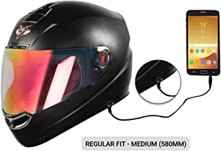 Steelbird SBA-1 7Wings HF Dashing Full Face Helmet with Detachable Handsfree Device (Medium 580 MM, Regular Fit, Black with Night Vision Gold Visor)