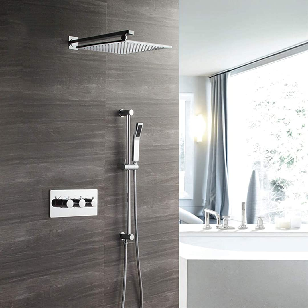 時々時々推定する純粋な隠されたシャワー壁に取り付けられた銅のサーモスタットバルブボディ2機能シャワー蛇口シャワーセット浴室用品