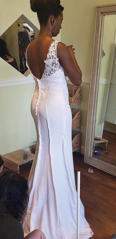 WeddingDazzle Double V-Neck Appliques Beach Wedding Dress Sexy Backless Boho Wedding Gowns