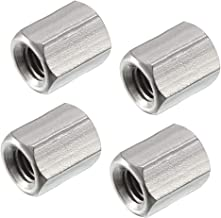 uxcell M5 X 0.8-Pitch 10mm Length 304 Stainless Steel Metric Hex Coupling Nut, 4pcs