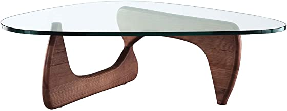 Modern Sources - Noguchi Style Glass Top Triangle Coffee Table (Mid Walnut)