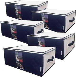 InikoLife 収納ケース 衣類 小物用 5枚組 収納ボックス 衣装ケース 洋服 収納袋 通気性に優れた不織布製(中芯無し) 活性炭シート入 上部ファスナー式で出し入れカンタン 持ち手 クリア窓付で持ち運びもしやすい 衣類や小物を通気性良く...