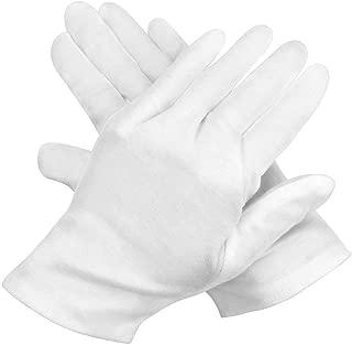 12 Pairs White Cotton Gloves, Marrywindix 9.4'' Soft Lightweight Work Gloves Cotton Gloves for Wedding Workshop Farm Garden, One Size