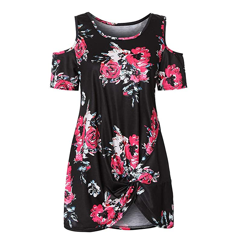 Giokp Women's Cold Shoulder Tie Knot Floral Print Swing Tunic Flare Casual Summer Blouse Top