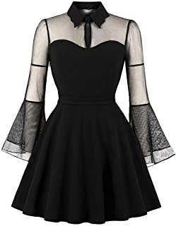 Wellwits Women's Keyhole Mesh Bell Long Sleeve Knee Swing Cocktail Dress