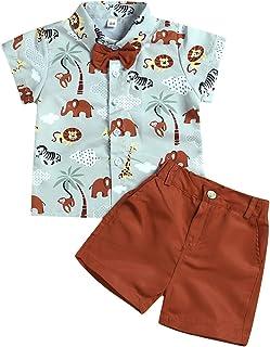 Haokaini niños Animal Print Bow Tie Shirt Top Shorts Pantalones Trajes Ropa Traje para niños niños