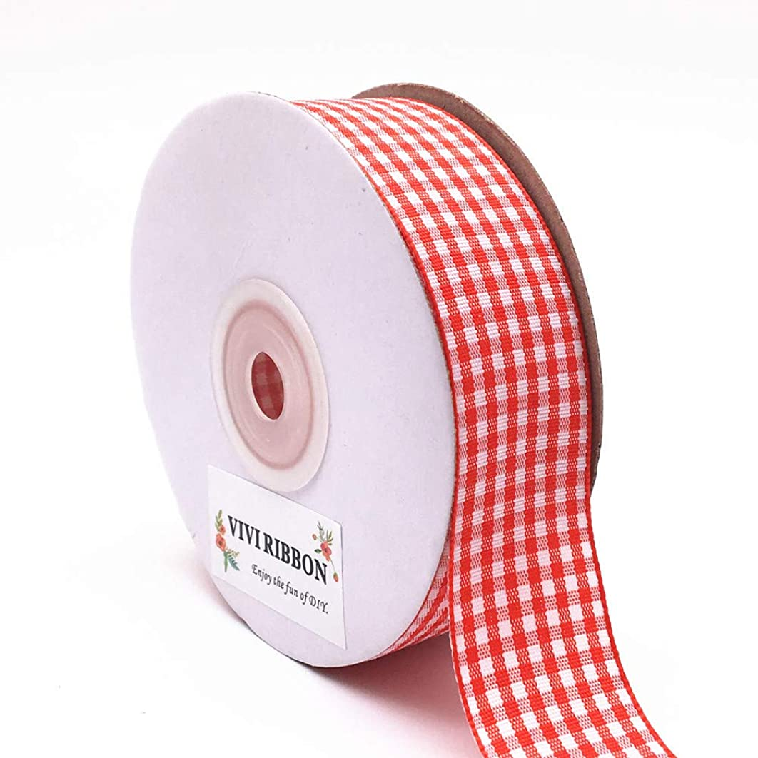 Red Gingham Ribbon Checkered Ribbon 1-Inch 25 Yard Each Roll 100% Polyester Woven Edge Picnic Ribbon for Crafts, Christmas Gift Packing, Wedding Decoration(Red)