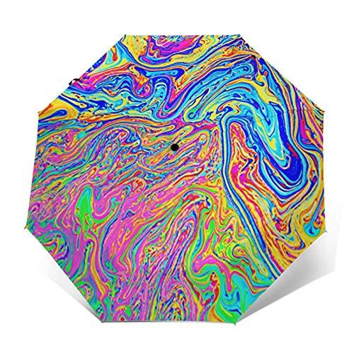 Regenschirm Taschenschirm Kompakter Falt-Regenschirm, Winddichter, Auf-Zu-Automatik, Verstärktes Dach, Ergonomischer Griff, Schirm-Tasche, Regenbogen von Seife erstellt