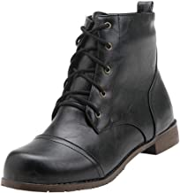 Men's leader Short Booties Ankle Bare Boots Square Heel Shoes Casual Short Lace Up Booties
