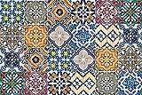 Queence, paraschizzi da cucina con motivo piastrelle in stile portoghese, per pareti della cucina, pannello composito in alluminio, protegge fornelli e lavandini