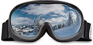 ALKAI Ski Goggles, Snowboard Goggles, Anti-Fog 100% UV Protection, Double-Layer Spherical Lenses, Helmet Compatible Medium Fit Snow Goggles for Men & Women