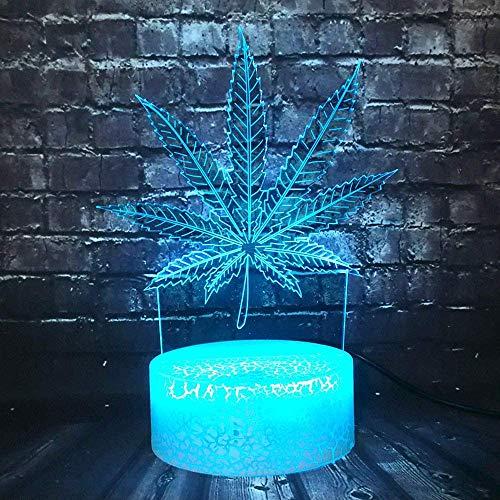 Nachtlampje LED 3D decor kamer 7 kleurverandering nieuwe hennepbladen plant tafel nachtlampje vriend vakantie Kerstmis jaar verjaardagscadeau
