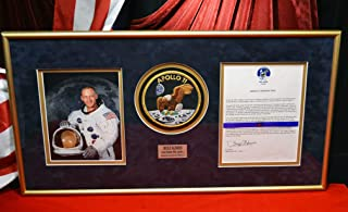 Rare BUZZ ALDRIN SIGNED Letter, Gold KAPTON FOIL, original 1969 AP News Wire, Frame Apollo 11 NY Times, COA