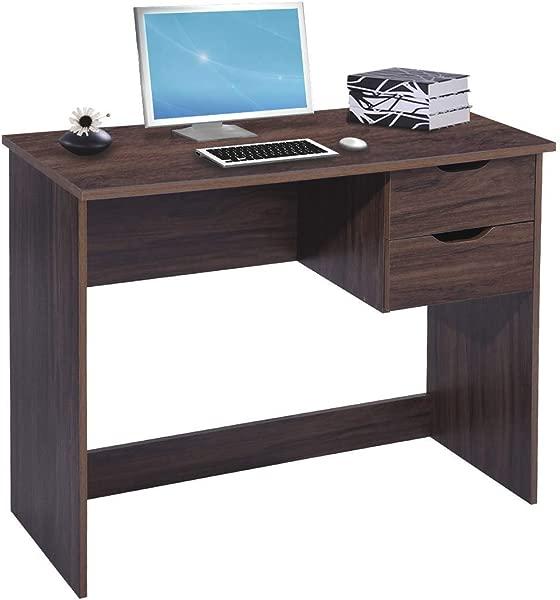 棕色电脑桌电脑挂衣架 Hutches 写字学习桌带 2 个侧边抽屉经典家用办公室笔记本电脑桌棕色木质笔记本桌