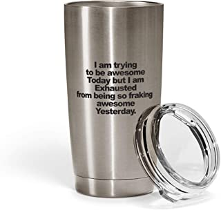 Loud Universe Stainless Steel Just Have A Little Faith Hot Cold Beverage Tumbler with Clear Acrylic Lid, Silver