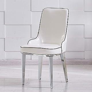 CHENSHJI Cocina Sillas de Comedor Comer sillón de Cuero nórdica Simple Moderna Asamblea café Adecuado Home Hotel Restaurante (Color : White-4, Size : 47X44X90cm)