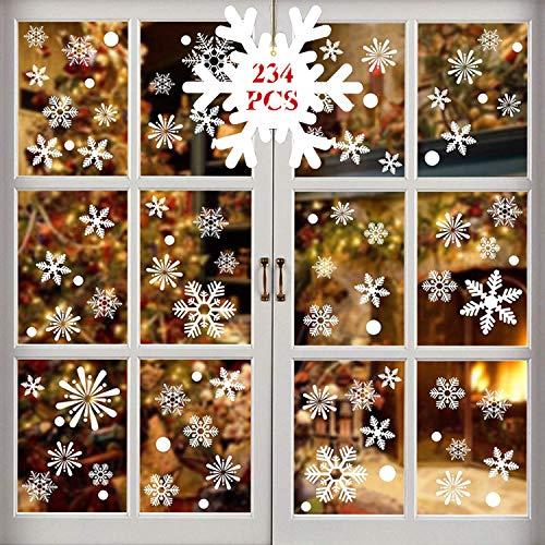WELLXUNK® Weihnachten Fensterdeko Aufkleber, Schneeflocken Fensterbild, Fensterbilder Weihnachten Selbstklebend, Weihnachten Fenstersticker, für Schaufenster, Vitrinen, Glasfronten Dekoration (M1)