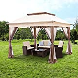 YGBH 11'x11' Pop-Up Gazebo Tent Instant with Mosquito Netting Outdoor Gazebo Canopy Shelter with Shade for Garden, Backyard and Lawn (Brown)