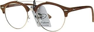 Mens Retro Hipster Half Horn Rim Clear Lens Eyeglasses