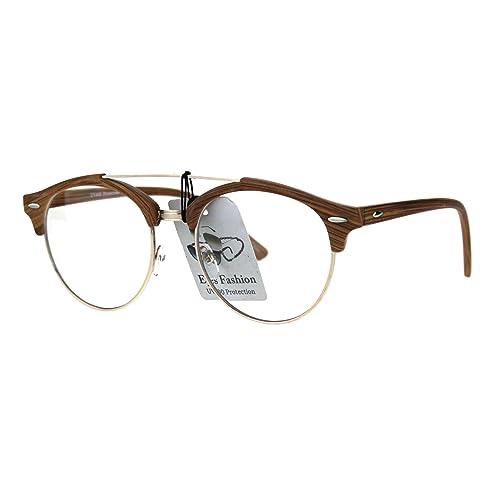4872c719b5 Mens Retro Hipster Half Horn Rim Clear Lens Eyeglasses