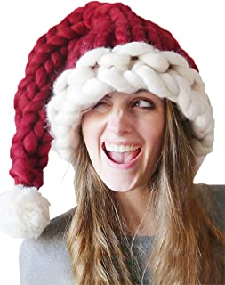 Christmas Hat Warm Thick Slouchy Knit Hat Handmade Long Tail Knitted Santa Hat