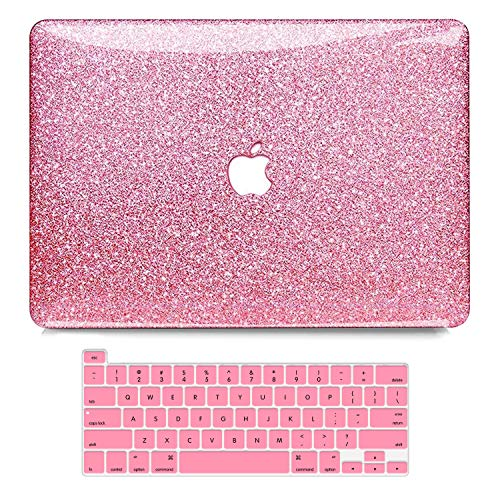 MacBook Pro 13 Inch Case 2019 2018 2017 2016 Release A2159 A1989 A1706 A1708, B BELK 3D Shining Bling Crystal Smooth Plastic Hard Case with Keyboard Cover Compatible with Mac Pro 13 with/NO Touch Bar