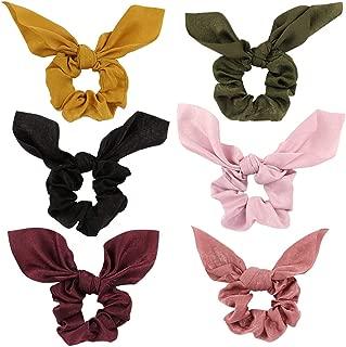 Jaciya 6 Pack Hair Elastics Scrunchies Chiffon Hair Scrunchies Hair Bow Chiffon Ponytail Holder Bobbles Soft Elegant Elastic Hair Bands Hair Ties, 6 Colors