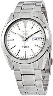 Seiko 5 Men's White Dial Stainless Steel Automatic Watch - SNKL41J1
