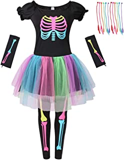 Girls Skeleton Costume, Funky Punk Bones Tutu Dress for Girls