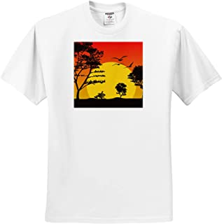 3dRose Sven Herkenrath Art Art Print of Orange and Yellow Floral Style with Black Background T-Shirts